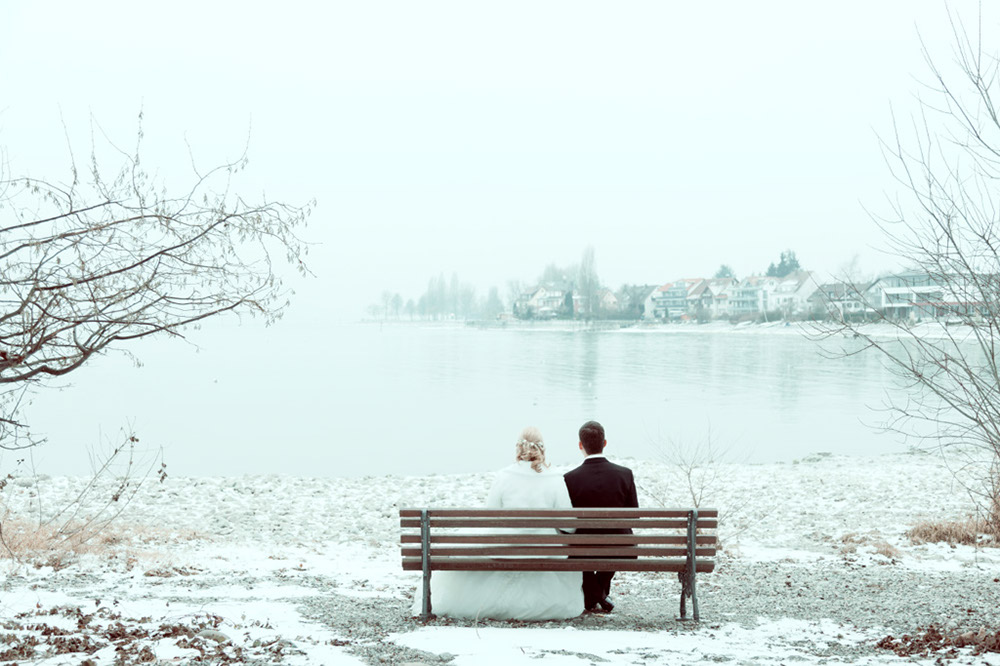 Brautpaat im Winter