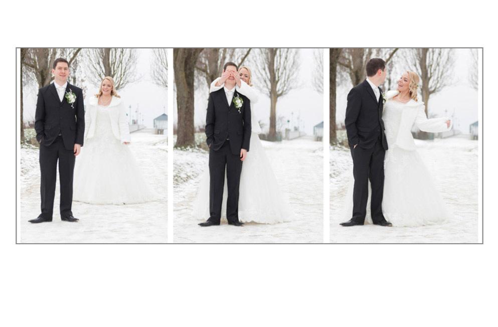 Drei Aufnahmen Braut überrascht ihren Mann
