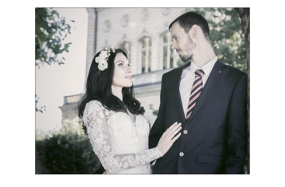 Brautpaar vor dem Schloß Montfort in Langenargen